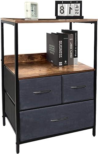 Kamiler Rustic Nightstand Dresser,Storage Shelf,3 Drawers Closet Organizer,Removable Fabric Bin