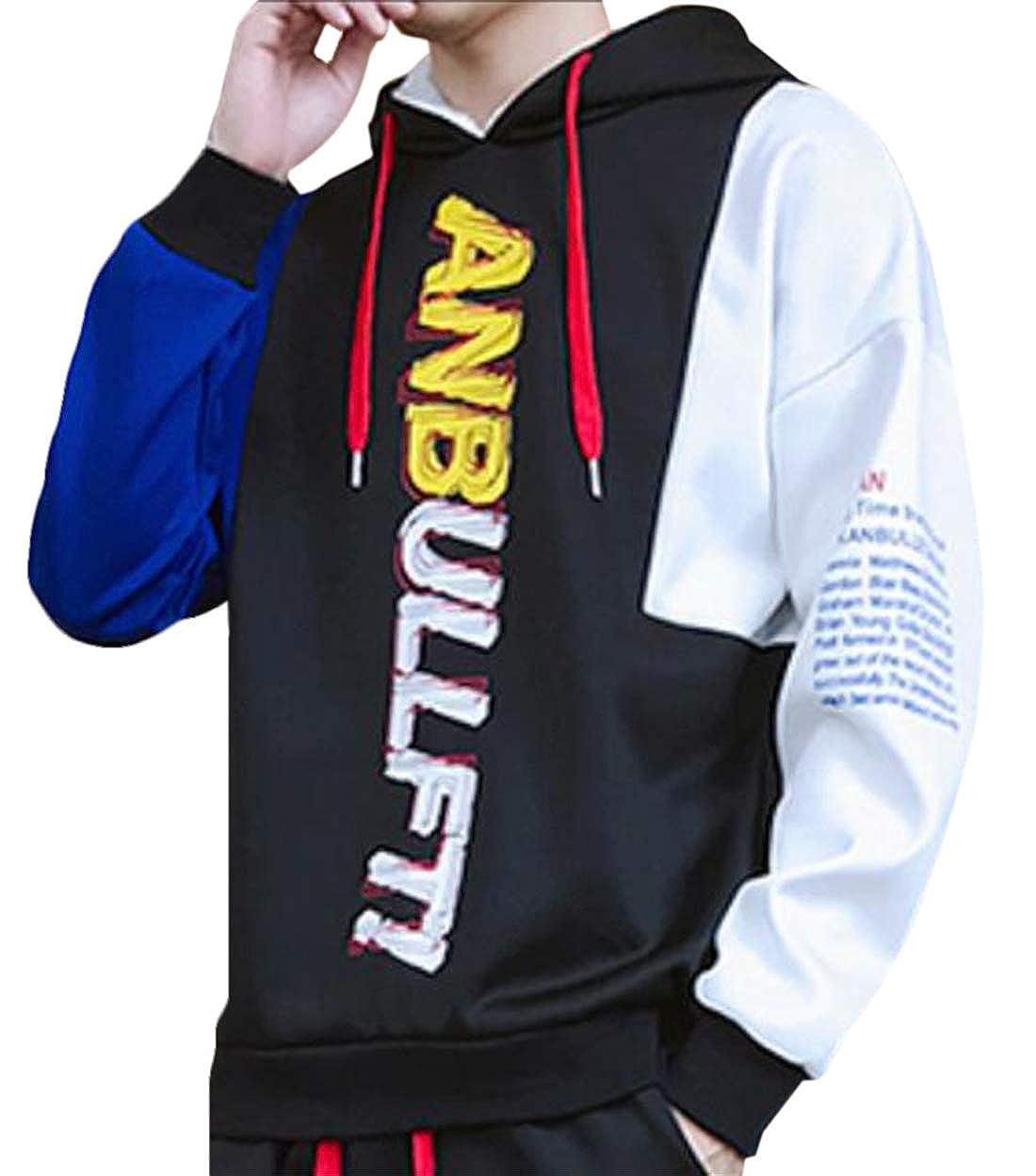 XTX Men 2 Pcs Colorblock Hoodie Thicken Fleece Lined Jogger Sweatsuit Outfit Set Black M