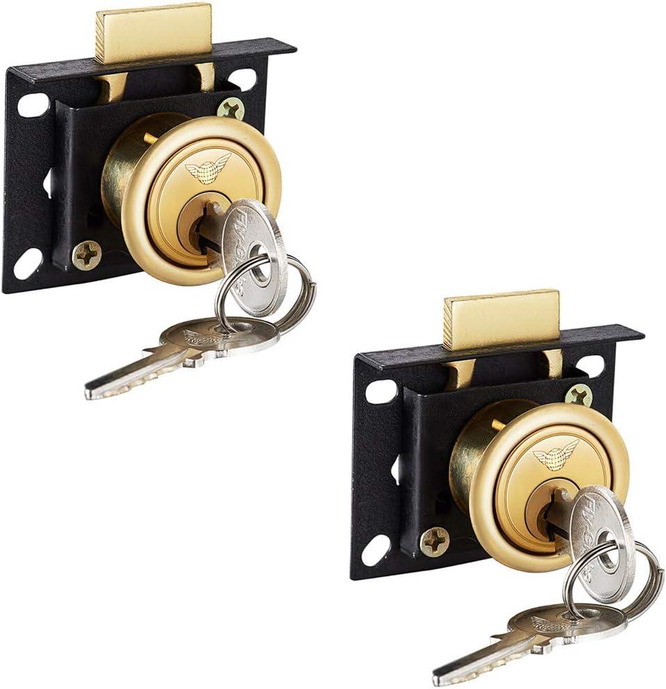 Z·Bling 2 Piezas Cerradura del Escritorio Acero Carbono CAM Cerradura de Seguridad para Buzón Taquillas Gabinete Armario & Mesa Ordenador Escritorio Cajón con Llaves