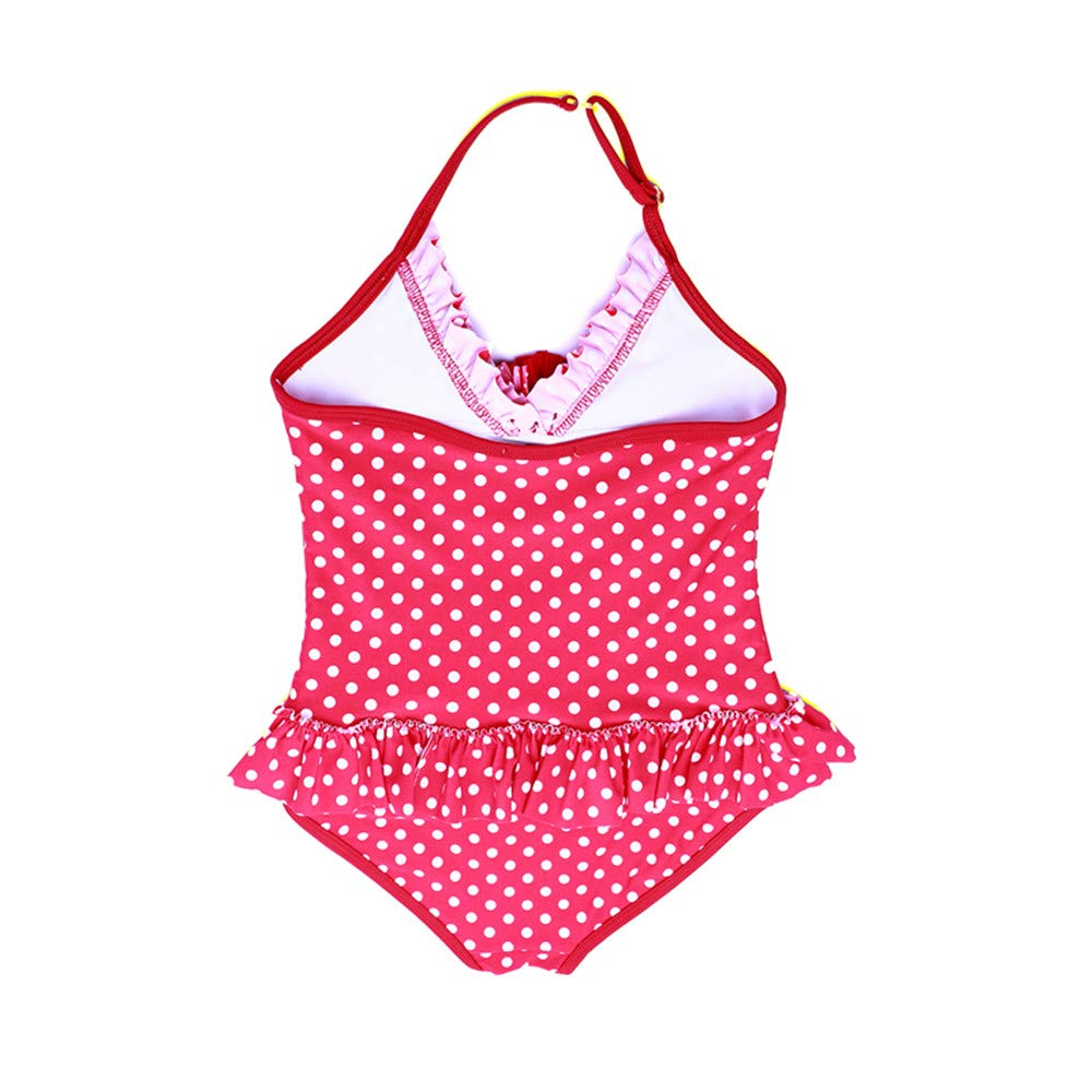 Girl Kids One Piece Swimsuit Red Dot Flower