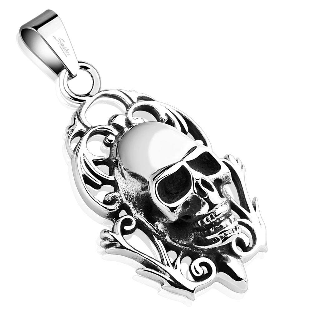 Bungsa Anhänger Totenkopf Edelstahl Silber Schädel Skull Kettenanhänger Herren (Kettenanhänger Pendant Anhänger Charm Beads Chirurgenstahl Damen Herren Schmuck) 3007