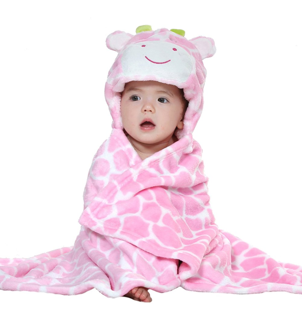Uleade Kids Baby Bath Bathrobe Cute Giraffe Hooded Ultra-soft Fleece Bathing Wrap Blanket,0-6 Years Old