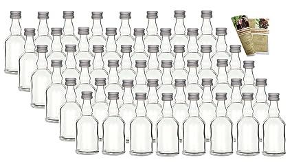 gouveo &apos 40 Mini Botellas de Cristal vacías Mina 50 ML Cristal biberones Botellas pequeñas.