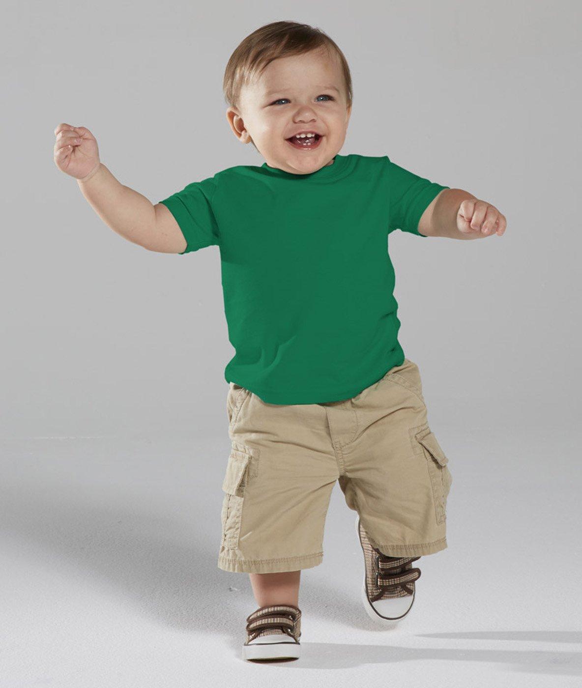 Rabbit Skins Infant Fine Topstitch Ribbed Collar T-Shirt, Kelly, 24 Months