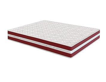 El Almacen del Colchon - Colchón viscoelastico Modelo Confort Life, 105 x 190 x 24cm - Todas Las Medidas, Blanco y Rojo