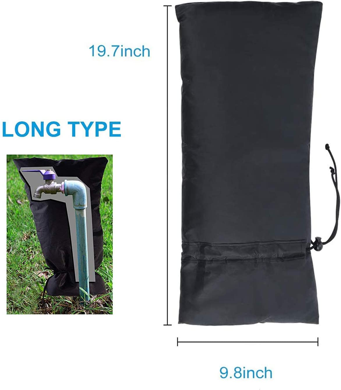 Topways Outside Long Tap Cover Faucet Jacket Protector Tap Large Size Protector From Frost for The Winter Garden Outdoor Tap Cover From Freezing Waterproof Thermal Tap Jacket