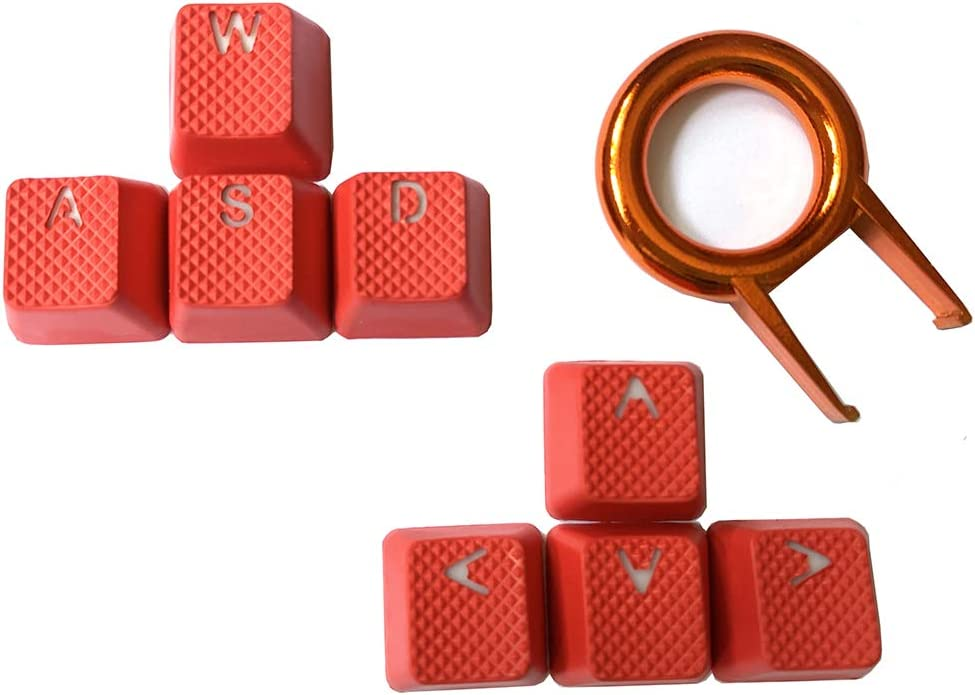 Rubber Gaming Backlit Keycaps Set - 8 Keys Rubberized DoubleShot Key Caps for Cherry MX Mechanical Keyboards Compatible OEM Include Key Puller (Red)