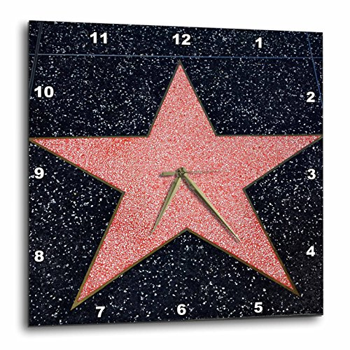 3D Rose Los Angeles Blank Star on Hollywood Walk of Fame Wall Clock, 13