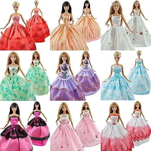 Qiyun Lot 5 Pcs Fashion Handmade Clothes Dresses Grows Outfit for Barbie Doll