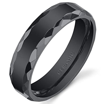 Amazoncom Faceted Edge 6mm Mens and Womens Black Ceramic Wedding