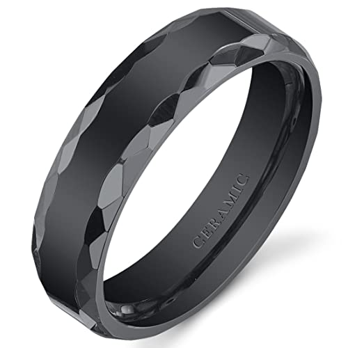 Fine Jewelry Mens Ceramic Faceted Black Band Ring WAyZOb