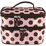 BONAMART ® Double Layer Cosmetic Bag Pink with Coffee Dot Travel Toiletry Cosmetic Makeup Bag Organizer With Mirror
