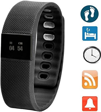 Sports Smart Watch Fitness Activity Tracker Smartband Wristband Waterproof Bluetooth 4.0 Intelligent Bracelet for iOS/Android (Black)
