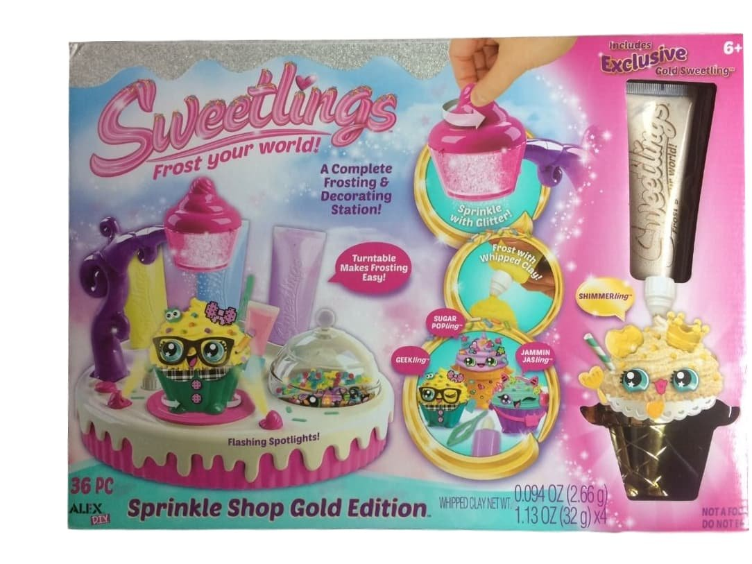 Sweetlings Sprinkle Shop Edition Exclusive Set Gold Frosting and Shimmerling Cupcake Craft Kit by Alex