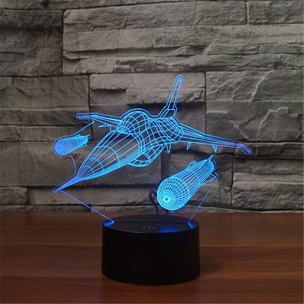 Aircraft Plane Warplane 3D Led Lamp,Abstractive Optical Illusion Night Light,7 Color Change,Touch Switch USB Powered,Birthday Christmas Cool Gift for Child ZTOP