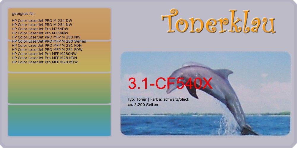 Kompatibel Toner 3.1-CF540X für  HP Farbe LaserJet Pro M254NW als Ersatz für HP CF540X 203X