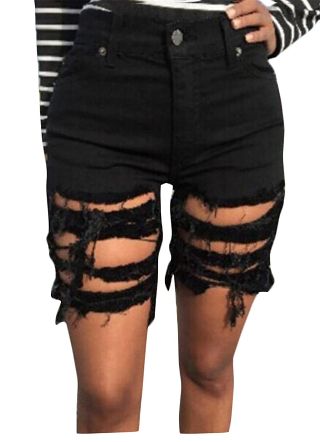 desolateness Women Classic Retro Ripped Hole Loose Cowboy Low Waist Short XS Black free shipping 7CNZYZ2H