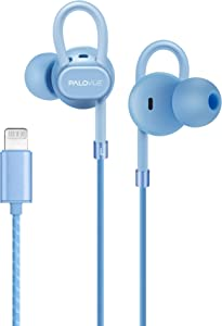 PALOVUE Lightning Headphones Earbuds Earphones with Microphone Controller MFi Certified Noise Isolation Compatible iPhone 11 Pro Max iPhone X XS Max XR iPhone 8 P iPhone 7 P NeoFlowColor Blue