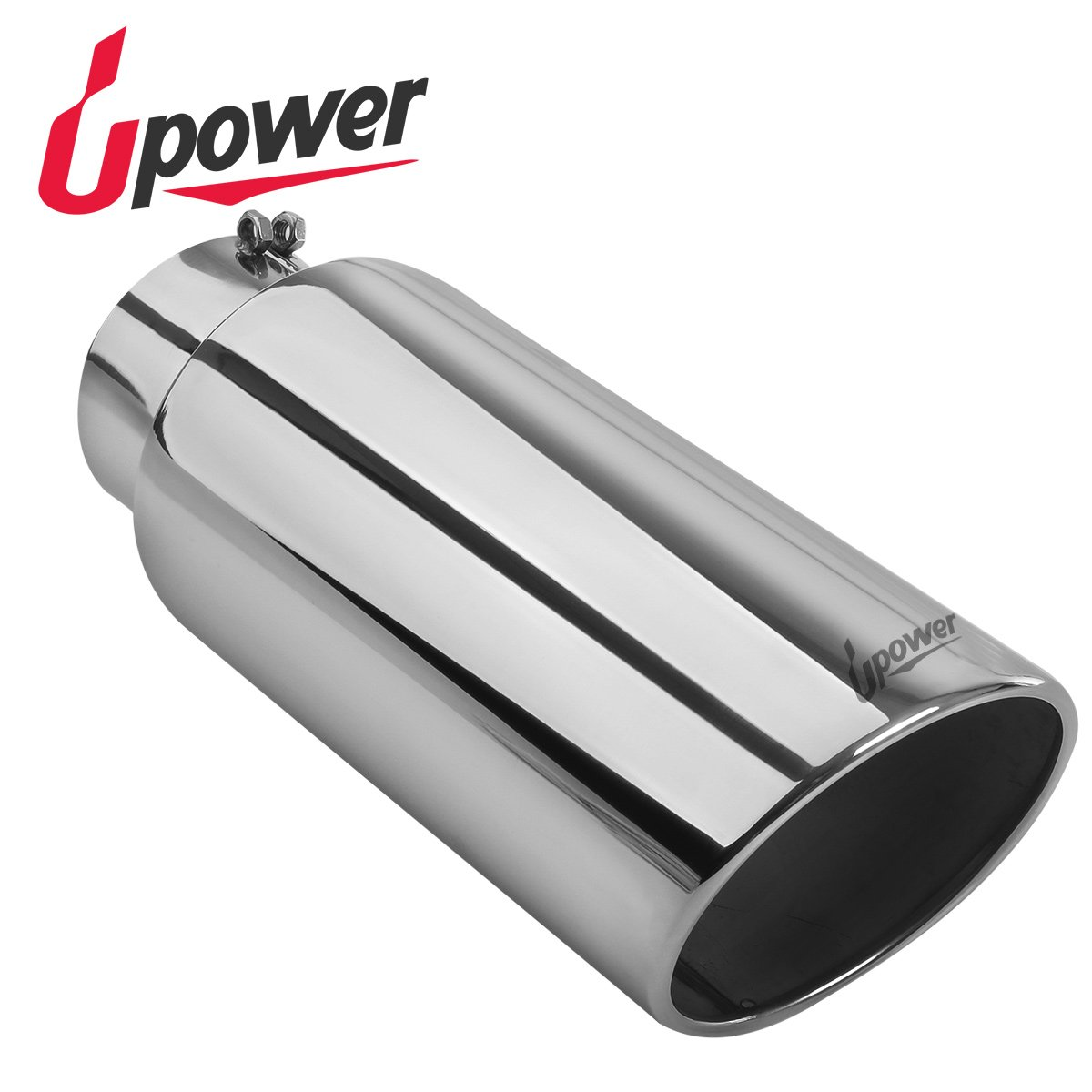 Upower Diesel Exhaust Tip Tailpipe 5 Inch Inlet 7'' Outlet 18'' Long Universal Stainless Steel Bolt On for Trucks Car