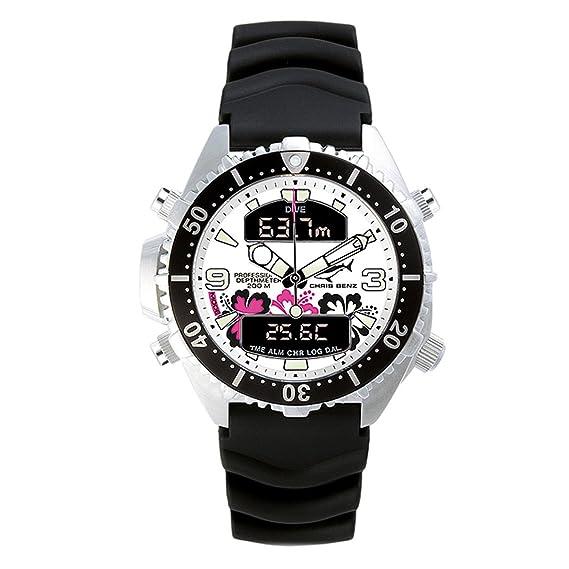 Chris Benz CB-D-ALOHA-KB - Reloj analógico - digital de cuarzo unisex, correa de goma color negro: Amazon.es: Relojes