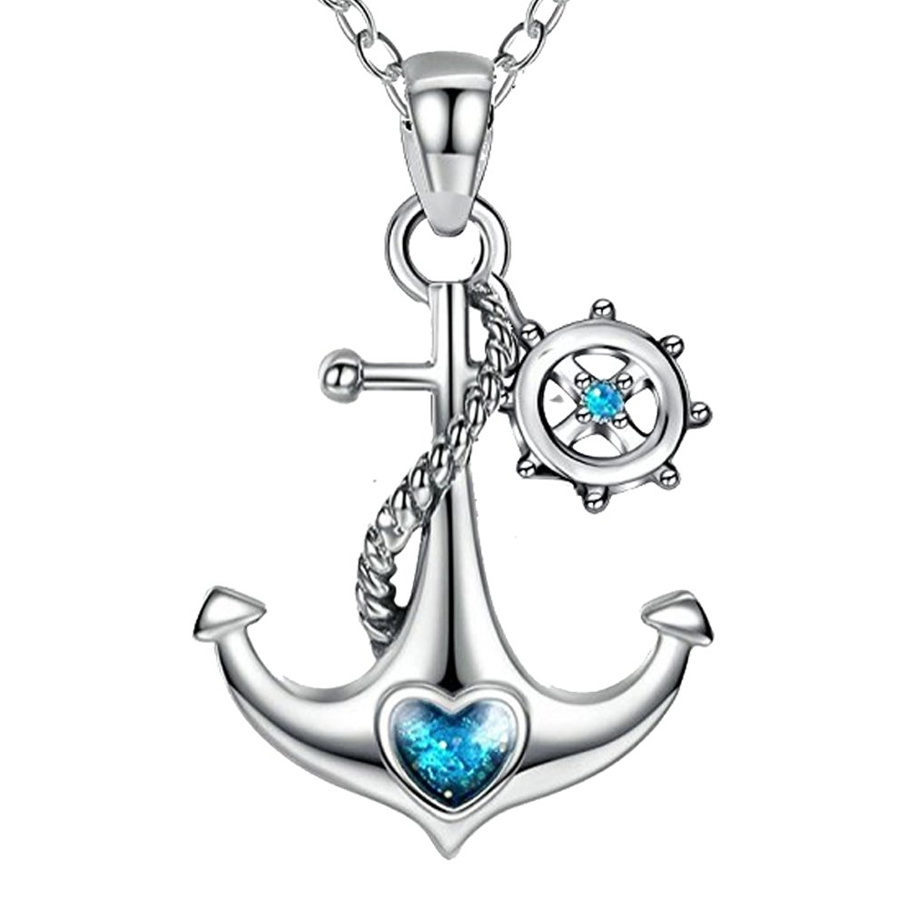 JUFU 925 Sterling Silver Blue Ocean Heart Ship Anchor and Rudder Nautical Necklace (Anchor and Rudder)