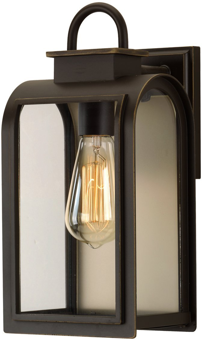 Luxury Art Deco Outdoor Wall Light, Medium Size: 13.25''H x 6.5''W, with Farmhouse Style Elements, Oil Rubbed Bronze Finish, UHP1100 from The Chesterfield Collection by Urban Ambiance