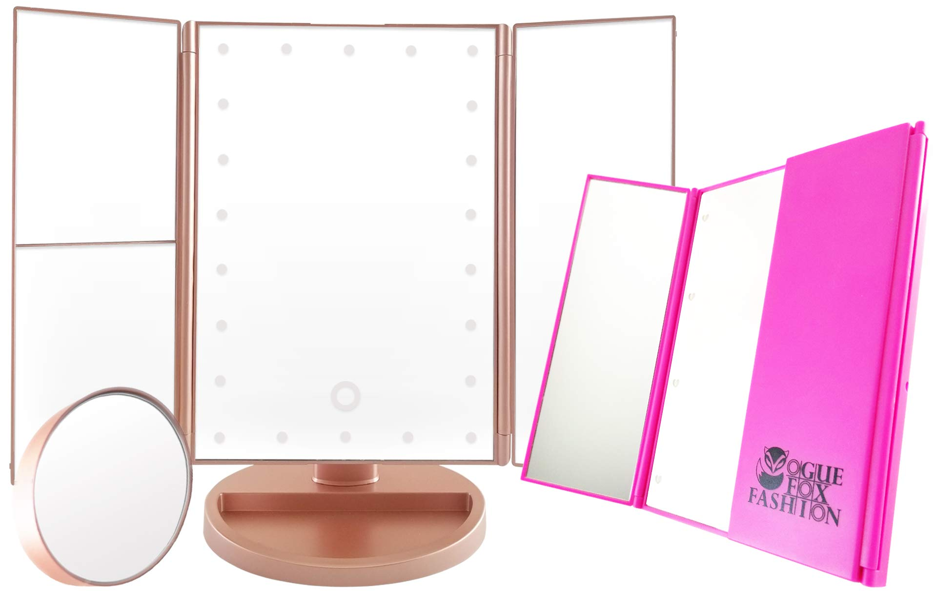 Vogue Fox Fashion Vanity Mirror with Lights (Rose Gold) - Perfect Bathroom Makeup Mirror with 3 types of Magnifying Mirror (3x, 2x, 10x) and Bonus Mini Hand Held Compact LED Lighted Purse Mirror