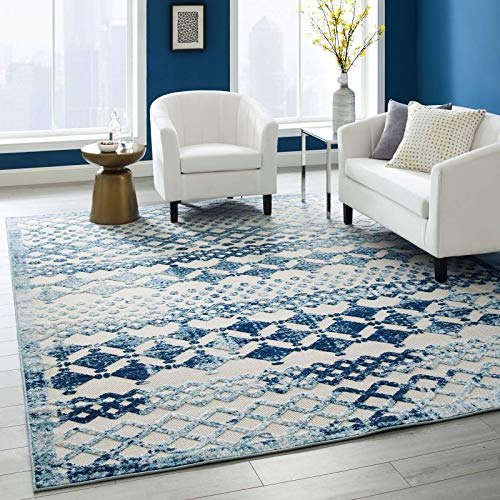 (Modway Giada Distressed Vintage Abstract Diamond Moroccan Trellis Indoor/Outdoor UV-Resistant Area Rug, 8x10, Ivory and Blue)