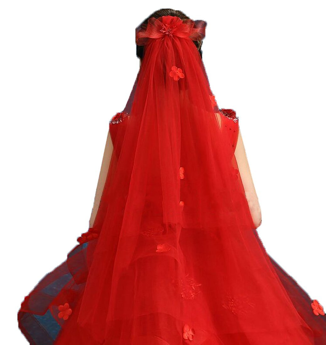 Drasawee Damens Sweet Flower Wedding Bridal Veils ROT 100CM