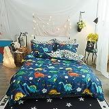 HighBuy 100% Cotton Dinosaur Print Kids Duvet Cover Set Full Multi Color Reversible Cartoon Children Boys Bedding Cover Sets 3 Piece Zipper Closure for Queen Bed Hypoallergenic,styleB