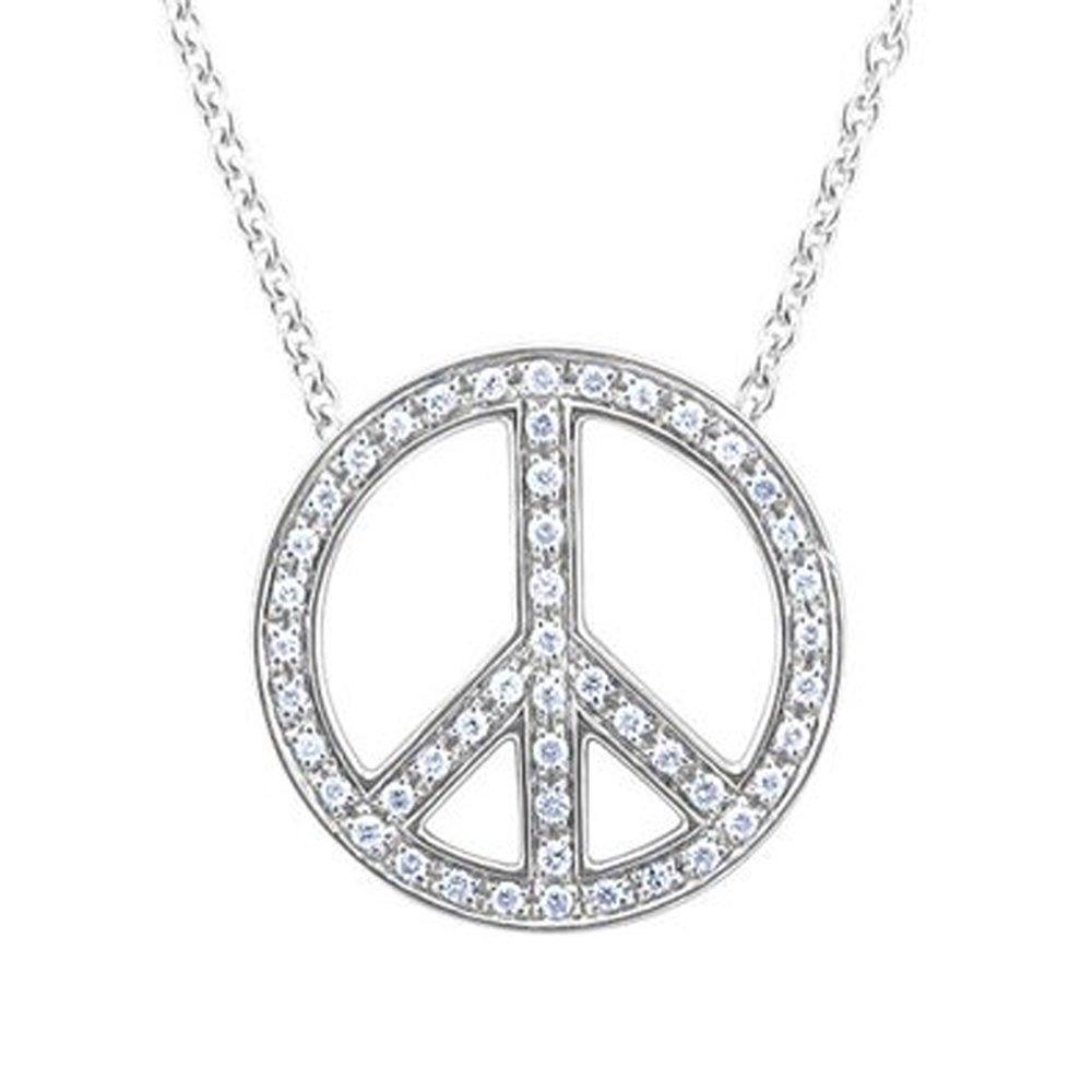IGI Certified 925 Sterling Silver Peace Sign Diamond Pendant Necklace (0.29 Carat)