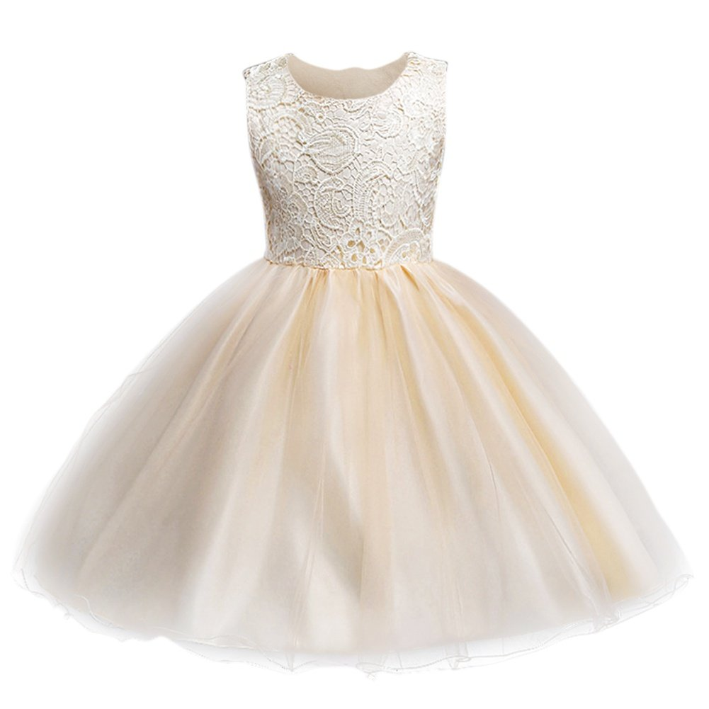 Kids Girls Lace Flower Dress Backless Bridesmaid Gown Wedding Formal Tutu Dress