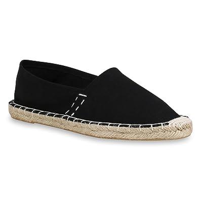 Damen Slippers Espadrilles Bast Slip Ons Stoffschuhe Flats Schuhe 158688 Schwarz Bast 40 Flandell