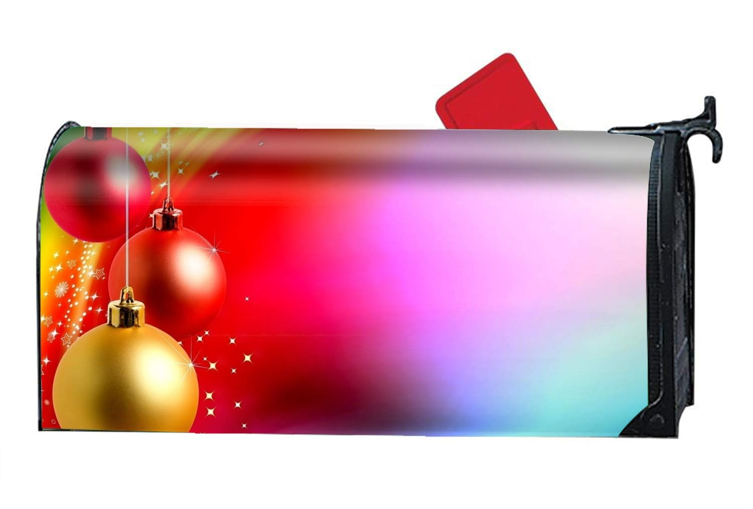 FANMIL Holiday Christmas Decoration Colors Bauble Mailbox Makeover - Magnetic PVC Mailbox Cover