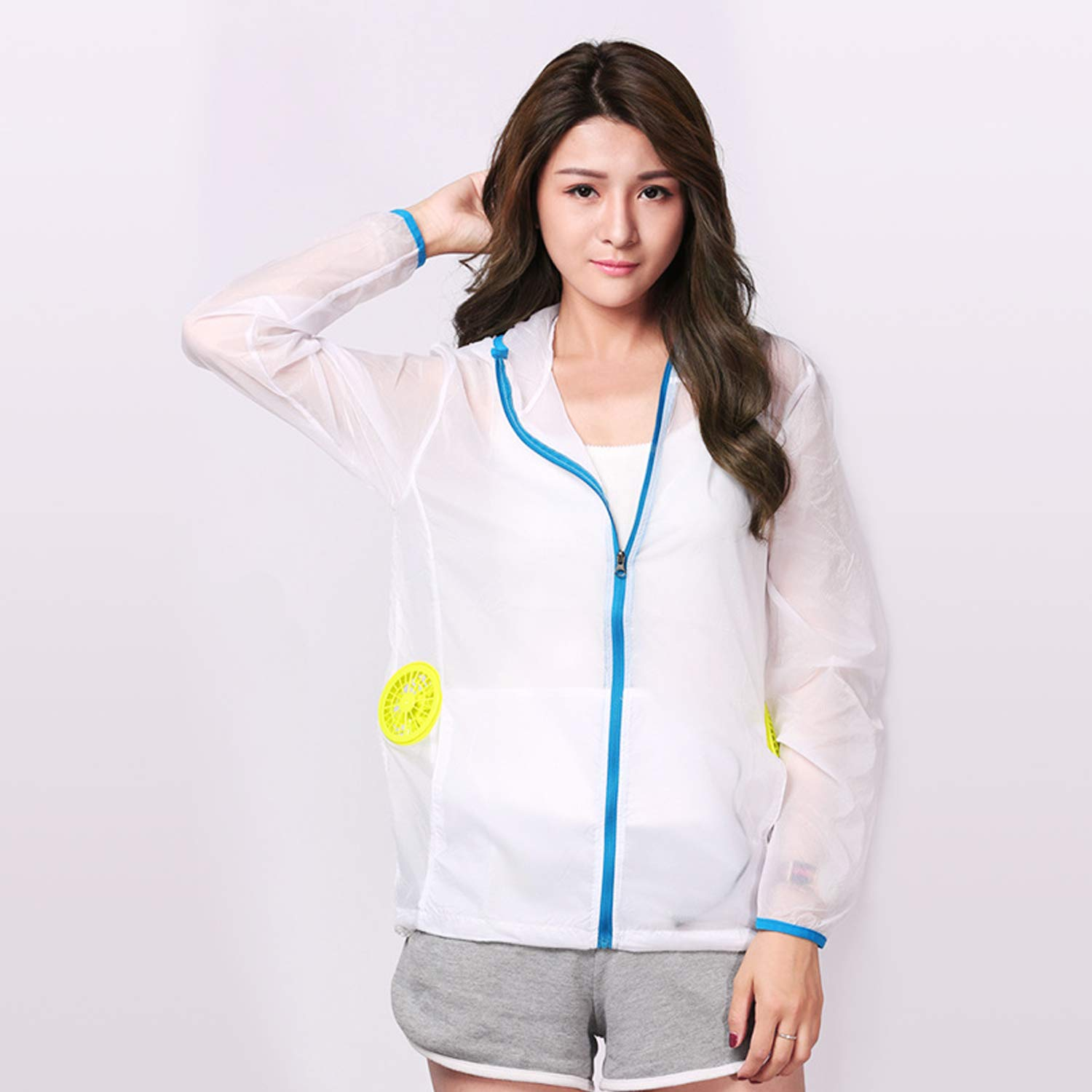 Bearhoho Summer Air Conditioning Suit USB Fan Jacket Quick-Drying Sunscreen Clothes for Outdoor Activities (White, S)