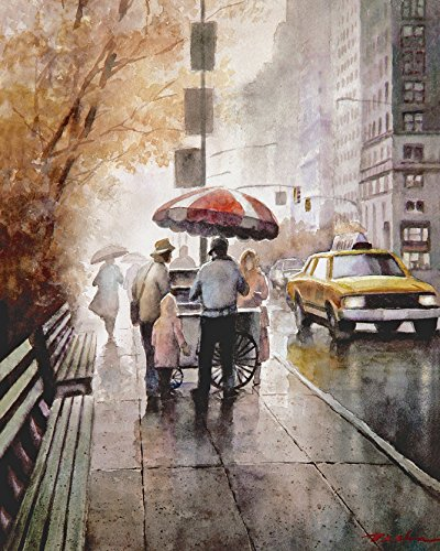 hotdog-vendor-on-the-sidewalk-print-of-watercolor-painting-street-in-the-city-cars-gift-for-men