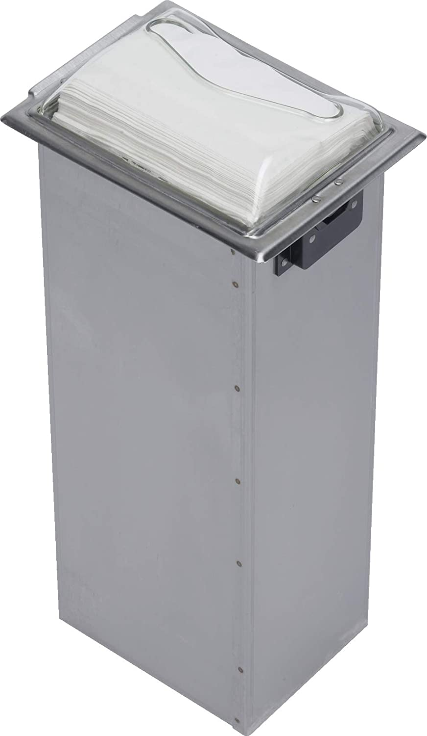San Jamar H2005 Stainless Steel In-Counter Fullfold Control Napkin Dispenser, 750 Plus Capacity, 7 Width x 19-5/8 Height x 5-1/2 Depth, Clear/Satin Stainless H2005CLSS