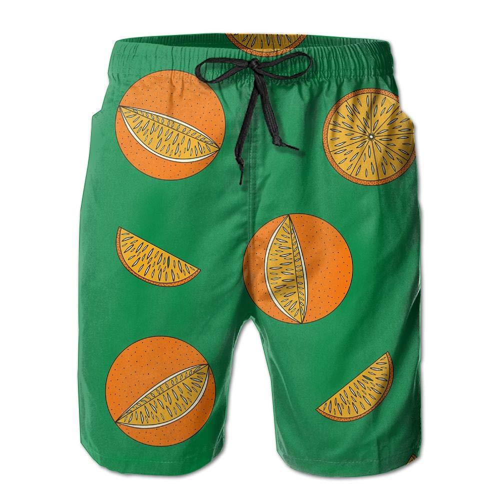 JINUNNU Mens Swim Trunks Oranges Fruit Quick Dry Surf Beach Board Shorts with Back Pocket Mesh Lining Bathing Suit