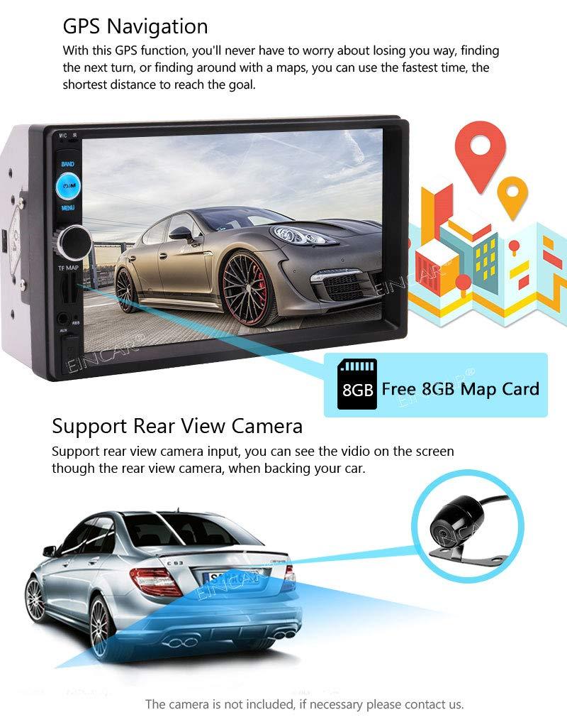 GPS con 8 GB de la Tarjeta del Mapa EINCAR capacitiva Multi-Pantalla t/áctil del Coche de Bluetooth Est/éreo Doble DIN Car MP5 Soporte GPS Jefe Unidad de Reproductor Multimedia con//FM RDSRadio