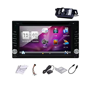 Pupug 6.2 Inch Double Din In Dash GPS Car DVD Player USB SD Bluetooth PC Radio