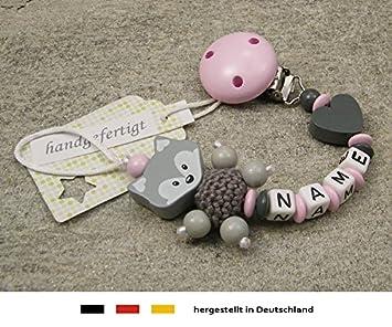 Schnullerkette mit Namen mint rosa Herz Wolke Mädchen Baby Geschenk