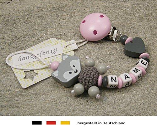 Baby SCHNULLERKETTE mit NAMEN | Schnullerhalter mit Wunschnamen - Mädchen Fuchs und Herz in rosa, grau kleinerStorch
