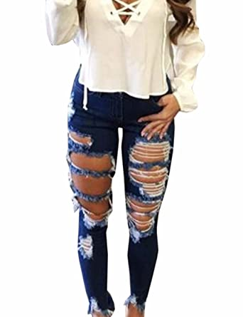 EMMA Damen Winter Fashion Skinny Jeanshose Hohe Taille Bleistift Jeans  Röhrenhose Destroyed Loch Zerrissen Ripped Denim Lange Hose Stretch  Elastisch ... e4a7bcdc67