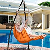 Lazy Daze Hammocks Hanging Hammock Swing Chair Outdoor Patio Porch Swing Seat with 2 Cushions and Footrest, 39.4-inch Wide Wood Spreader Bar, Capacity 350 lbs, Orange/White