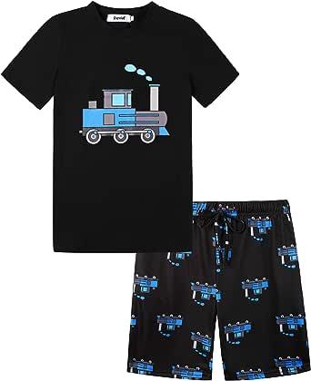 Irevial Pijama para Niños,Pijamas de Manga Larga 6-15 Años-Dinosaurio/camión/astronave/excavador/Cohete Top y pantalón Largo con Cinturilla elástica y Bolsillos Dos Piezas,Suave y cómodo