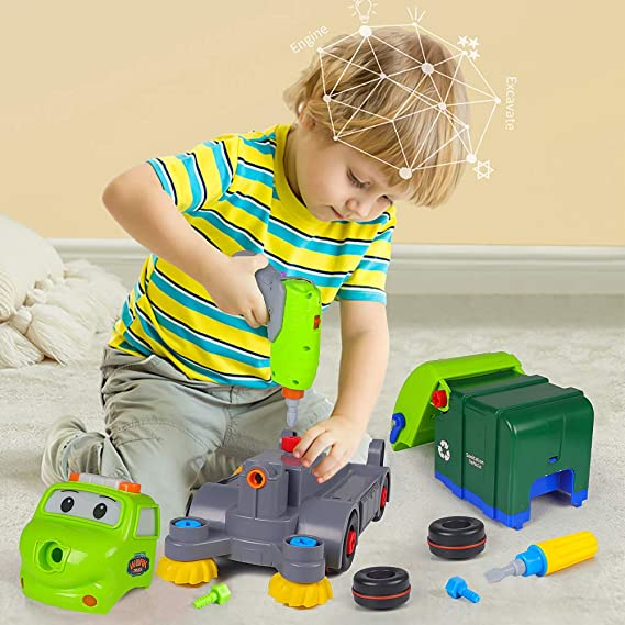 DX DA XIN Remote Control Toys for Kids Take Apart Vehicle Garbage Truck Educational Car Toy Birthday Gifts for Boy Girl