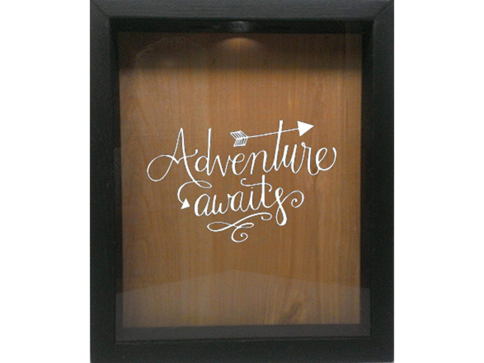 Wicked Good Decor Wooden Shadow Box Wine Cork/Bottle Cap/Tickets 9x11 - Adventure Awaits (Ebony w/White)
