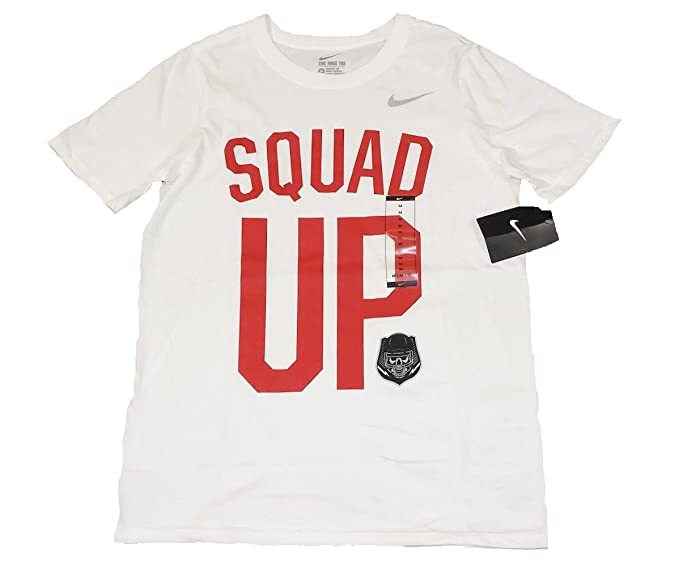 d3df1cf7530d Nike Boys Youth Athletic Football Graphic Squad UP Tee T Shirt White - Red  (XL