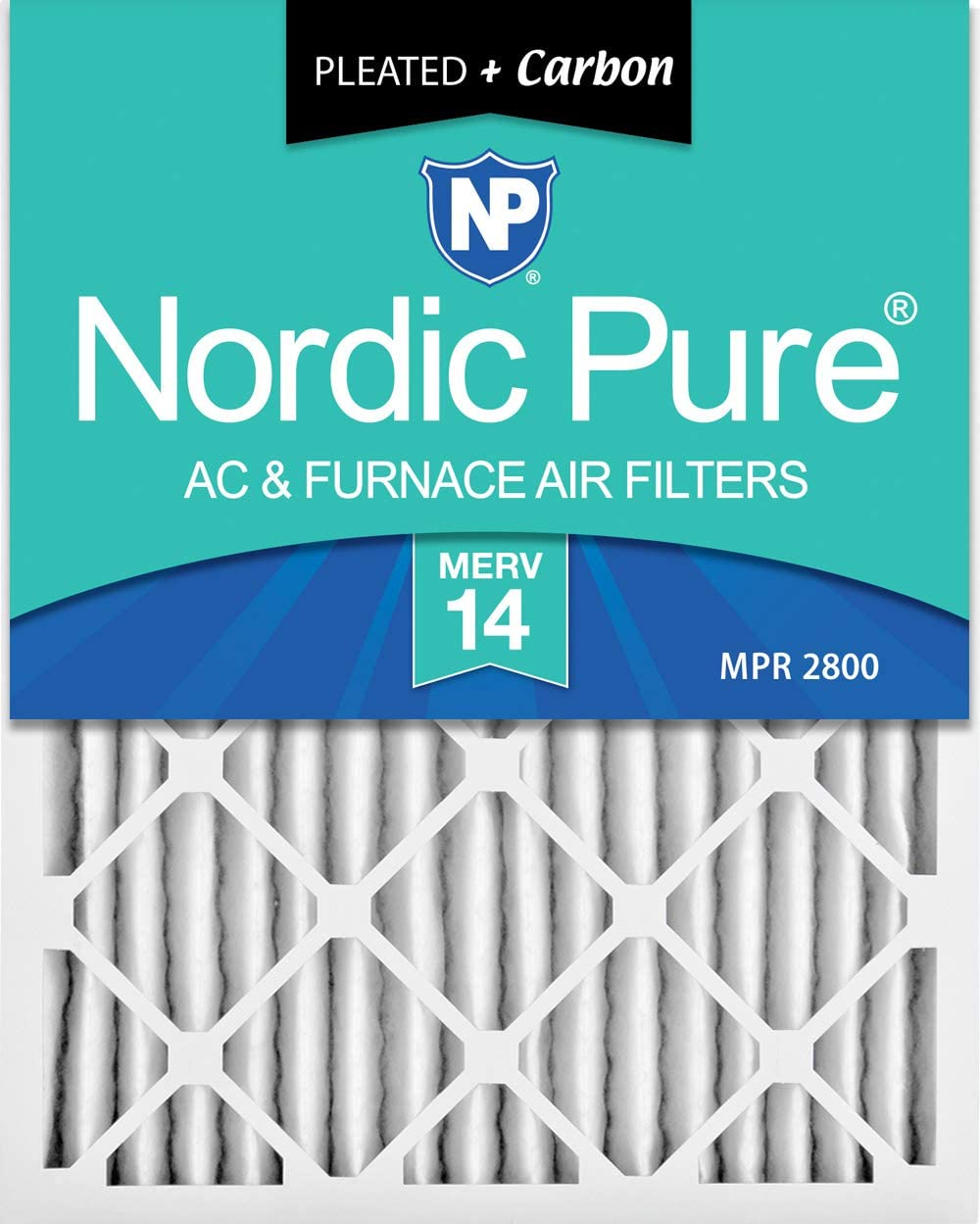 Nordic Pure 20 x 30 x 2 m14 + c-3 MERV 14 PlusカーボンAC炉エアフィルタ、qty-3