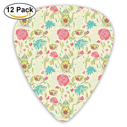 Newfood Ss Victorian Style Vintage Teapot With Leaves Flowers Rose Petals Print Guitar Picks 12/Pack Set
